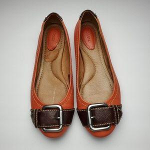 Fossil Orange Maddox Buckle Ballet Flats Size 8.5